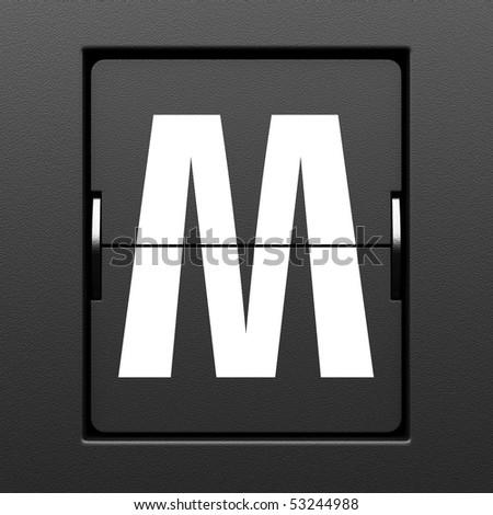 Letter M from mechanical scoreboard alphabet - stock photo