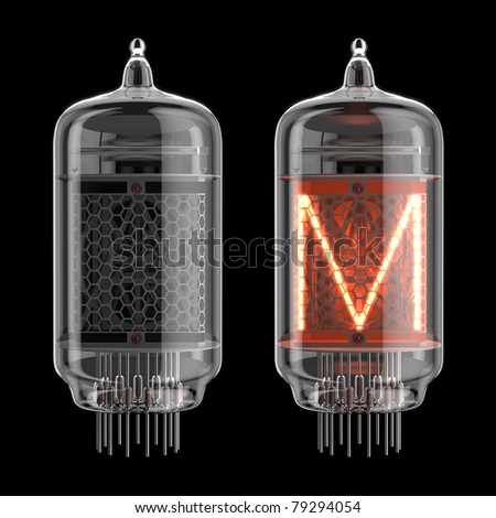 Letter M from retro-styled digitron alphabet isolated on black. There is a clipping path - stock photo