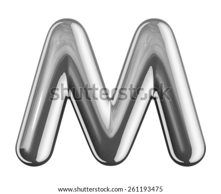 Letter M from round reflection chrome alphabet. There is a clipping path - stock photo