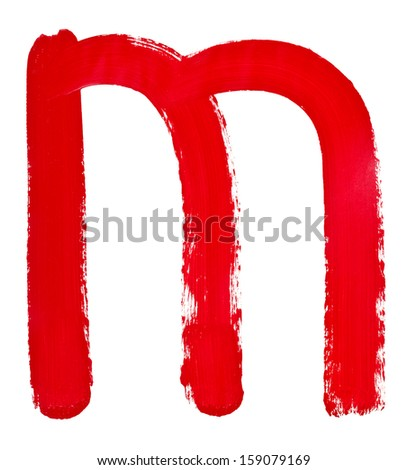 letter m hand painted by red brush on white background