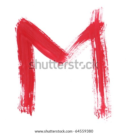 Letter M handwritten paint stroke sketch. Red Isolated on white background. One from collection set.