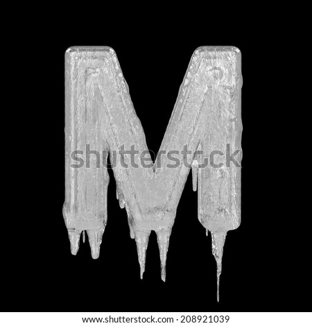 Letter M. Ice font isolated on black background. Alphabet. - stock photo
