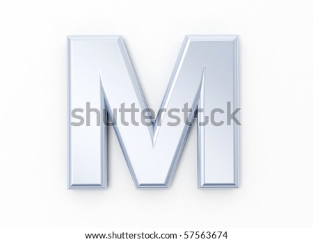 Letter M in brushed metal on a white isolated background - stock photo