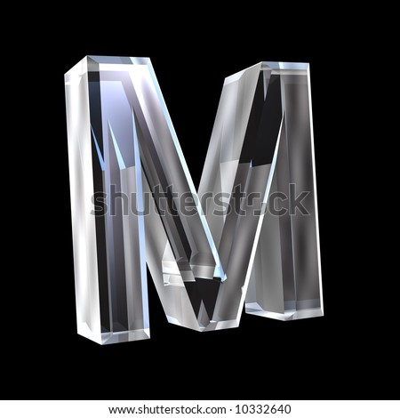 letter M in glass 3D - stock photo