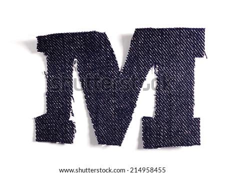 Letter M. Jeans alphabet Isolated on White. Handmade font. - stock photo