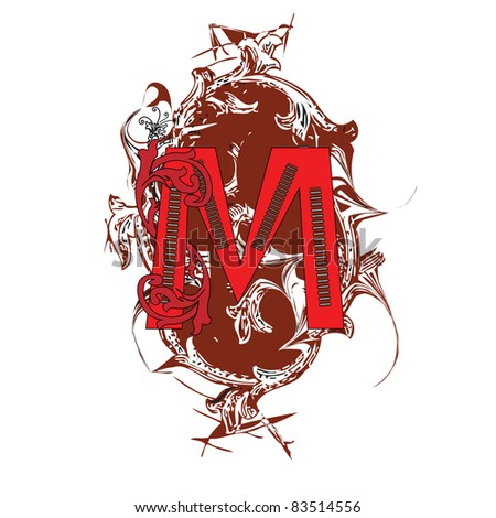 letter M ornate - stock photo