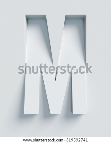 Letter M slanted 3d font engraved and extruded from the surface - stock photo