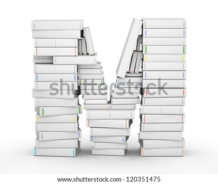 Letter M, stacked from many blank title books in column - stock photo
