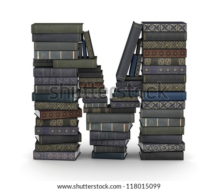 Letter M, stacked from many  books in pile - stock photo