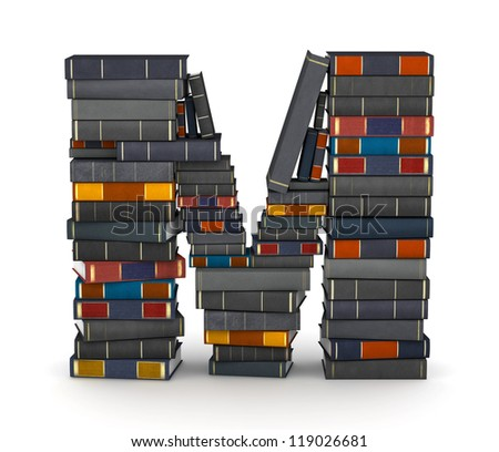 Letter M, stacked from many encyclopedia books in pile - stock photo