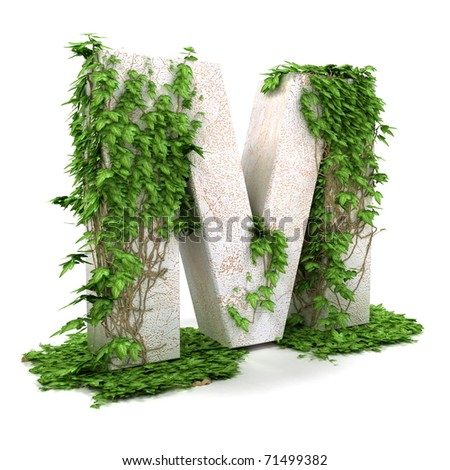 Letter M threads covered with ivy isolated on white background. - stock photo