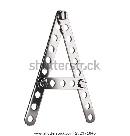 Letter made from metall construktor. Isolated 3d. - stock photo