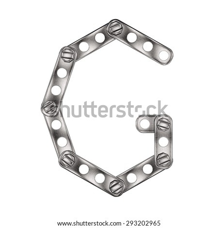 Letter made from metall construktor. Isolated 3d.