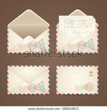 Letter Mail Vintage Set on a Brown Background. illustration