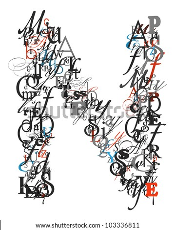 Letter N Alphabet From Different Font Letters