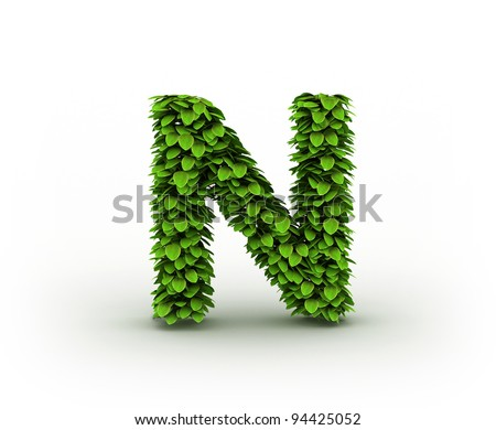 Letter N , alphabet of green leaves isolated on white background