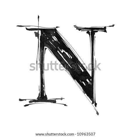letter N. Alphabet symbol - grunge hand draw paint - stock photo