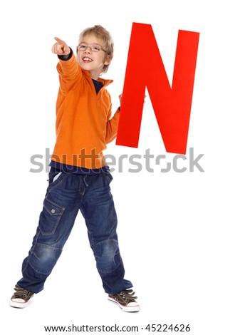 "Letter ""N"" boy - stock photo"