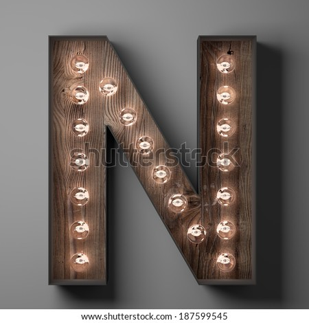 Letter N for sign with light bulbs - stock photo