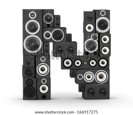 Letter N from black hi-fi speakers sound systems - stock photo