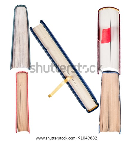 Letter N from book spines alphabet set - stock photo