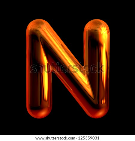 Letter N from chrome orange sunset alphabet. There is a clipping path - stock photo
