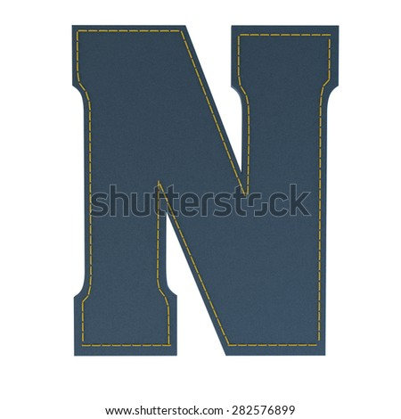 letter N from denim - jeans, on a white background, high specification of fabric, it is stitched by the yellow high-detailed threads - stock photo