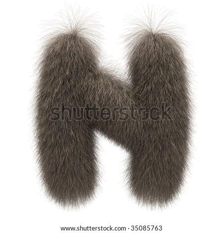 Letter N from fur alphabet - stock photo