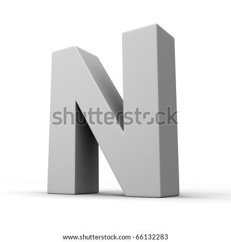Letter N from solid alphabet. There is a clipping path