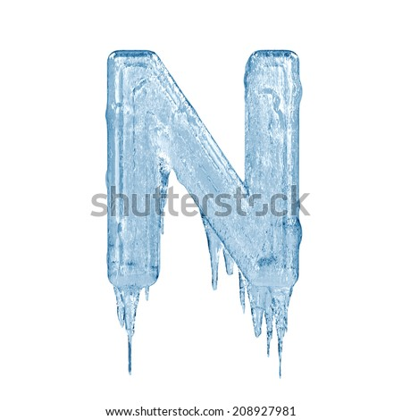 Letter N. Ice font isolated on white background. Alphabet. - stock photo