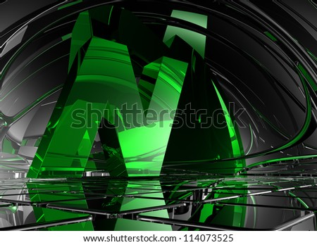 letter n in abstract futuristic space - 3d illustration