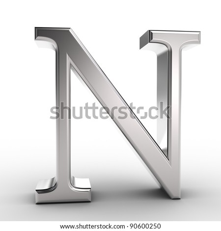 Letter N, isolated on white background.