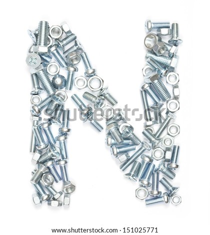 Letter N made of screws on white background
