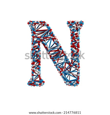 Letter N. Molecule alphabet isolated on white background. DNA font. - stock photo