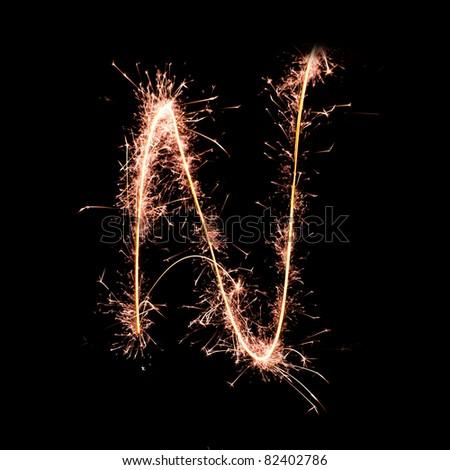 Letter N. Real sparkler alphabet - stock photo