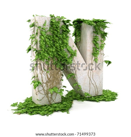 Letter N threads covered with ivy isolated on white background. - stock photo