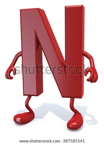 letter N with arms and legs posing, isolated on white 3d illustration - stock photo