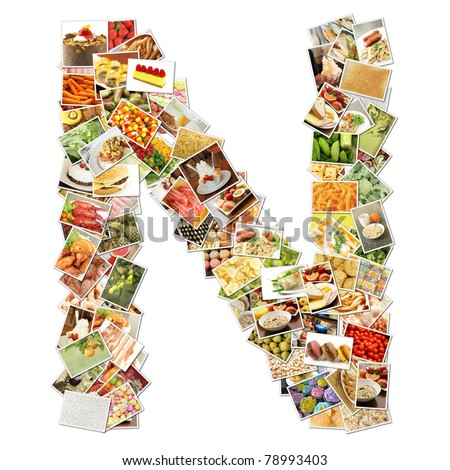 Letter N with Food Collage Concept Art - stock photo