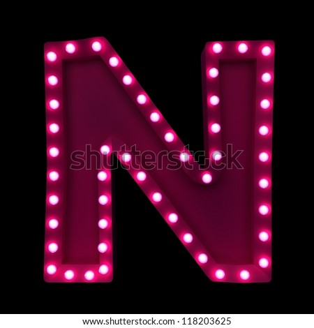 letter N with neon lights isolated on black background - stock photo