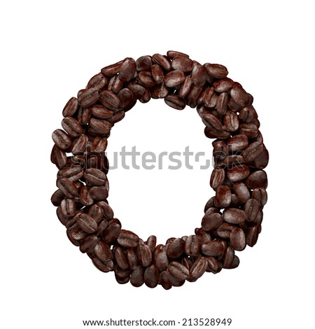Letter O. Alphabet from coffee beans isolated on white.  - stock photo