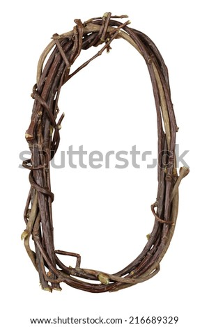 Letter O. Alphabet from the branches of birch are isolated on a white background. Wooden font. - stock photo