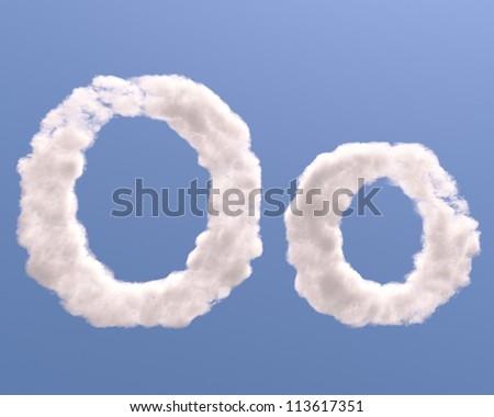 Letter O cloud shape, isolated on white background - stock photo