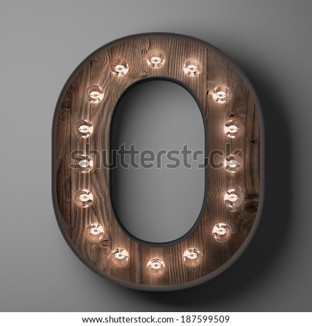 Letter O for sign with light bulbs - stock photo