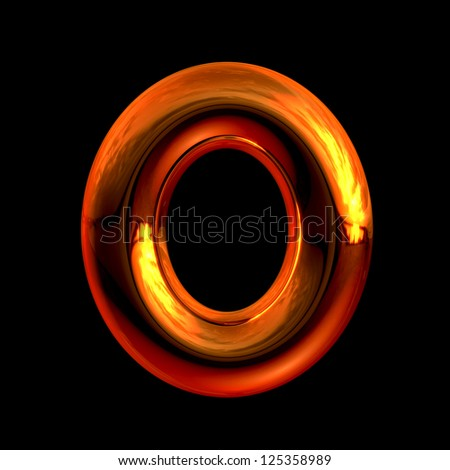 Letter O from chrome orange sunset alphabet. There is a clipping path - stock photo
