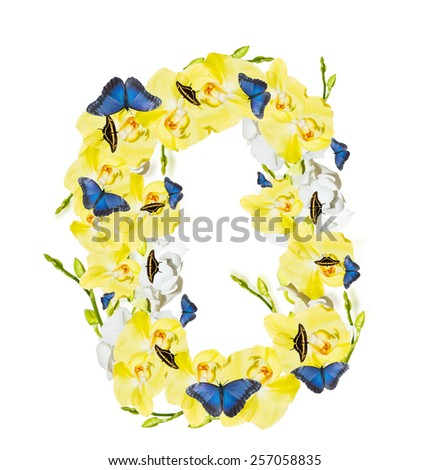 letter O from orchid flowers and butterfly. isolated on white - stock photo
