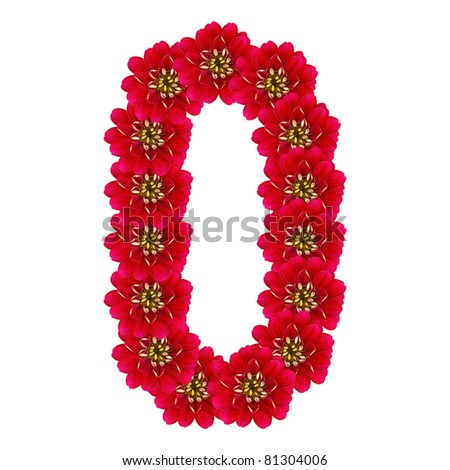 Letter O from red flowers - stock photo