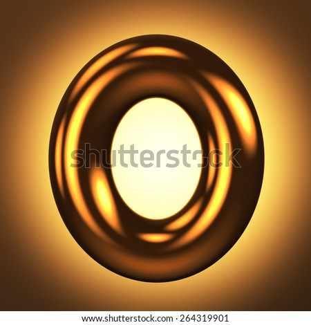 Letter O from round pure gold alphabet. There is a clipping path. The background is presented as an example. It can be replaced - stock photo