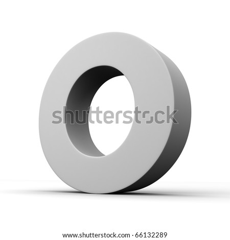 Letter O from solid alphabet. There is a clipping path - stock photo