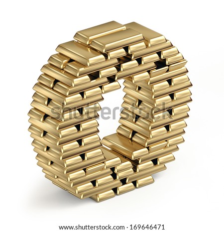 Letter O from stacked gold bars 3d in isometric on white background - stock photo
