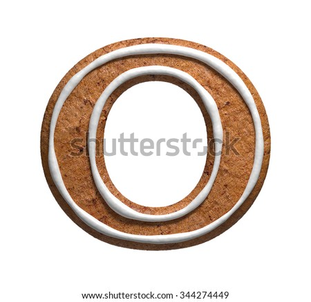 Letter O. Gingerbread font. Christmas cookies alphabet. - stock photo